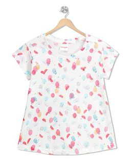 RAINE AND JAINE Fruity Printed Top - White & Pink