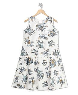RAINE AND JAINE Floral Printed Dress - White & Blue
