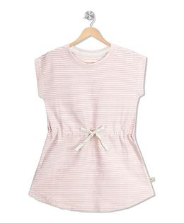 RAINE AND JAINE Stripe Print Ribbon At Waist Dress - Pink