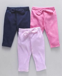 Hudson Baby Bow Knot Design Baby Leggings Set of 3 - Navy & Pink