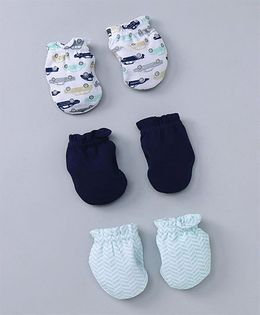 Hudson Baby Printed Mittens 3 Pairs - Blue