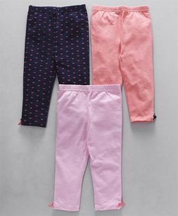 Hudson Baby Leggings Set of 3 - Pink and Navy