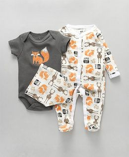 Hudson Baby Animal Print Rompers With Bib - Grey and White