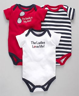 Luvable Friends Baby Printed Onesies Set - Red White & Blue