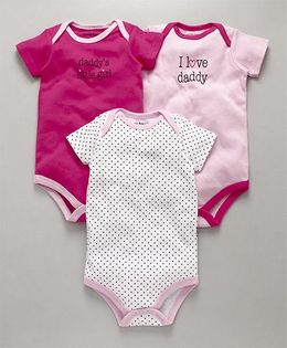 Luvable Friends Printed Onesies - Set of 3 - Pink