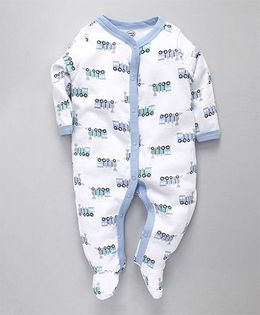 Luvable Friends Baby Train Printed Romper Set - White