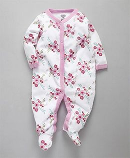 Luvable Friends Baby Flower Printed Romper - White & Pink