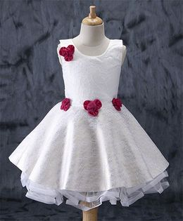 Enfance Flower Applique Party Wear Dress - White