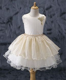 Enfance Sleeveless Party Wear Dress With Chain Belt - Cream