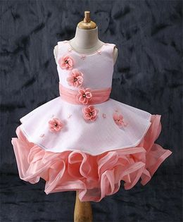 Enfance Flower Applique Frilly Dress - Peach
