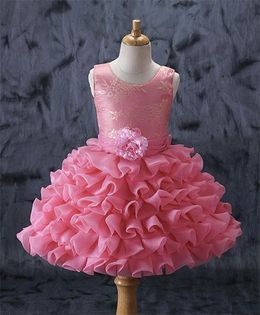 Enfance Frilly Sleeveless Dress With Flower At Waist - Pink