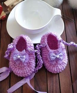 The Original Knit Pearl Bow Booties - Mauve