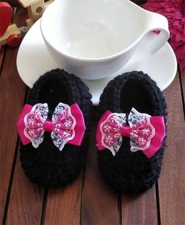 The Original Knit Lace Bow Contrast Booties - Black