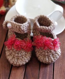 The Original Knit Net Flower Booties - Beige