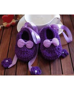 The Original Knit Ribbon Dangler Booties - Purple