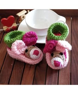 The Original Knit Rabbit Ears Booties - Multicoloured