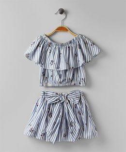 Soul Fairy Striped Top & Bow Skirt With Inner Shorts - Blue