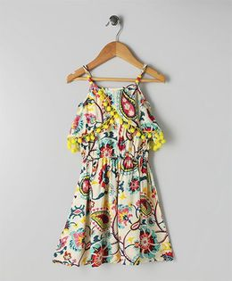 Soul Fairy Strap Front Overlap Printed Rayon Dress With Pom Pom Lace - Multicolor