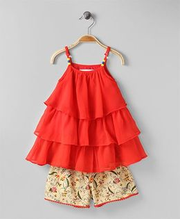 Soul Fairy Ruffle Georgette Tiered Top With Printed Lycra Shorts - Coral