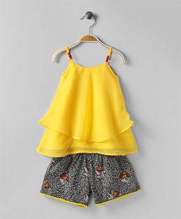 Soul Fairy Ruffle Georgette Top With Printed Lycra Shorts - Yellow