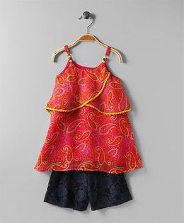 Soul Fairy Printed Georgette Top With Lace Shorts - Red
