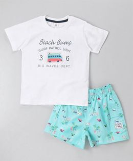 ToffyHouse Short Sleeves Tee & Shorts Beach Bums Print - White & Blue