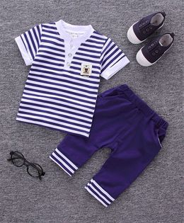 Pre Order - Wonderland Striped Half Sleeves Coordinated Set - Navy Blue