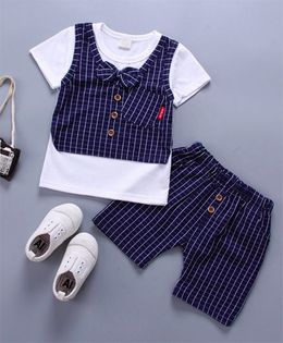 Pre Order - Wonderland Striped Bow Applique 2 Pc Set - Blue