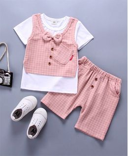 Pre Order - Wonderland Striped Bow Applique 2 Pc Set - Pink