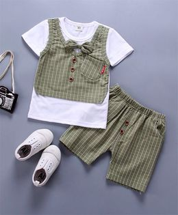 Pre Order - Wonderland Striped Bow Applique 2 Pc Set - Green