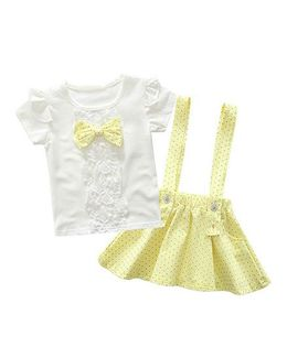 Pre Order - Wonderland Polka Dot Skirt With Top Set - Yellow