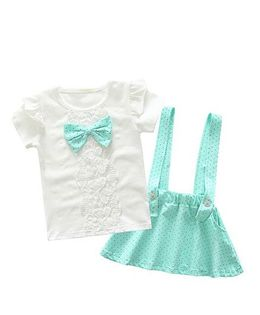 Pre Order - Wonderland Polka Dot Skirt With Top Set - Green