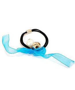 Aayera'S Nest Ribbon N Pearls Rubber Band - Blue