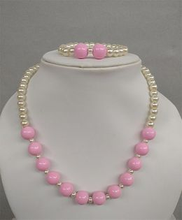 Tiny Closet Pearl Necklace & Bracelet - Pink