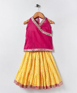 Kidcetra Tiered Lehenga With Halter Neck Choli - Yellow & Pink