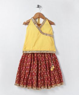 Kidcetra Halter Neck Choli & Printed Lehenga - Rust Red & Yellow