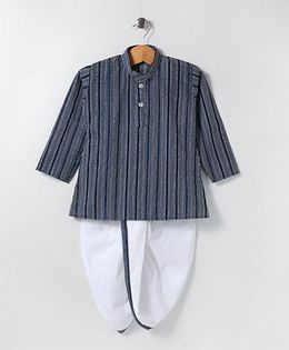 Kidcetra Striped Dhoti Kurta - Blue & White