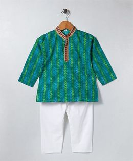 Kidcetra Striped Kurta & Pajama Set - Green & White