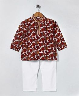 Kidcetra Leaf Printed Kurta With Pajama - Red & White