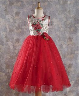 M'PRINCESS Floral Design Gown - Red