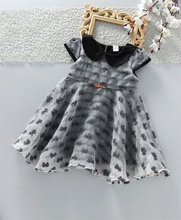 ToffyHouse Short Sleeves Party Frock All Over Bow Design - Grey Black