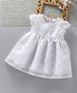 ToffyHouse Short Sleeves Frock With Bow Applique - White