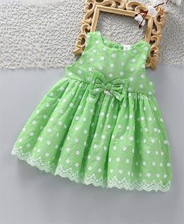 ToffyHouse Sleeveless Party Frock With Bow Applique - Green