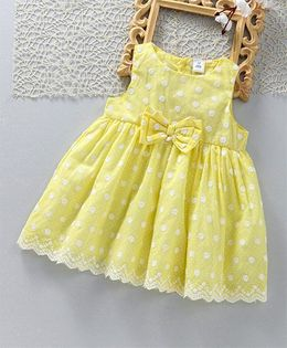 ToffyHouse Sleeveless Party Frock With Bow Applique - Yellow