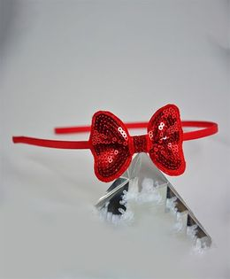 Little Miss Cuttie Sparkles Bow Hair Band - Red