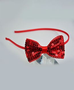 Little Miss Cuttie Sequin Bow Hair Band - Red