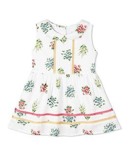 Budding Bees Peter Pan Collar Frock - Off White