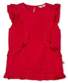 Budding Bees Frill Solid Top - Red