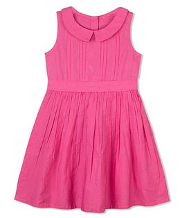 Budding Bees Pleated Solid Print Frock - Pink