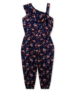 Budding Bees Swan Printed Jumpsuit - Dark Blue